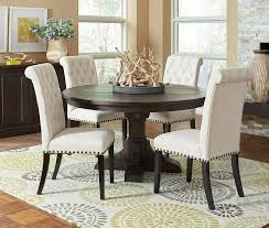 5 pc round pedestal dining table coaster 107280 86 5 pc weber collection smokey black textured wood