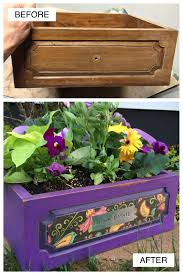 cool diy projects old drawer becomes a planter pretty purple door