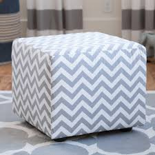 Cube Ottoman White And Gray Zig Zag Cube Ottoman Carousel Designs