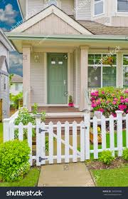 entrance house country style wooden fence stock photo 104237696