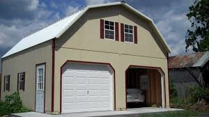 amish built story garage youtube garages two car raised roof