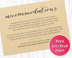 Wedding Invitation Information Card Accommodations Card Insert Wedding Information Card Template