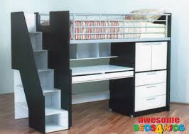 Space Loft Bed With Desk Evan Study Bunk Bed Space Saver Small Rooms And Desks