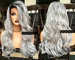how to blend in gray roots of black hair with highlig wantable wigs by wantablewigs on etsy