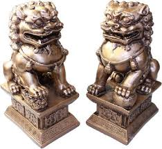 fu dogs pair of fu dogs or guardian lions golden 10cm