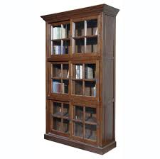 Wooden Bookcase With Glass Doors Furniture Stylish Solid Wood Bookcase Featuring Glass Doors And
