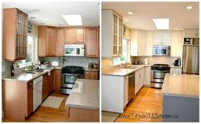 How To Paint Oak Kitchen Cabinets White by Painted Oak Kitchen Cabinets Before And After Nrtradiant Com