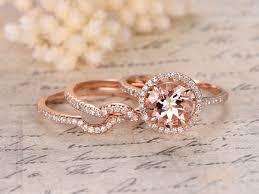 wedding band set 8mm cut morganite engagement ring 3 rings set curved wedding