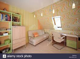 The Modern House Room For Schooler Interior In The Modern House Desk Book Stock