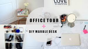 White Marble Desk by Office Makeup Room Tour Diy Marble Desk Table Youtube