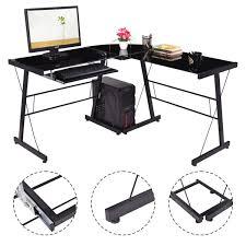 L Shaped Computer Table L Shape Glass Top Computer Desk Desks Office Furniture Furniture