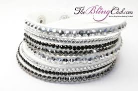 white swarovski crystal bracelet images White bling vegan leather crystal wrap bracelet buy now jpg