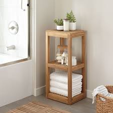 Shelves For Towels In Bathrooms Three Tier Teak Towel Shelf Bathroom