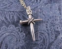 nail cross necklace etsy