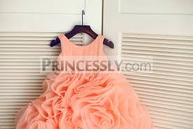 coral ruffle organza ball gown wedding flower dress