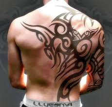mens tribal half back and arm tribal tattoos for