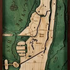 Miami Beach Map Miami Beach Wood Map 3d Nautical Topographic Chart Framed Art