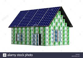 house made from euro banknotes with solar panels stock photo