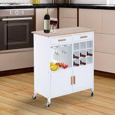 desserte de cuisine homcom desserte cuisine à roulettes avec casier à vin porte verre
