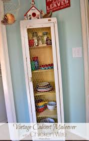 vintage cabinet makeover with chicken wire adventures of mel
