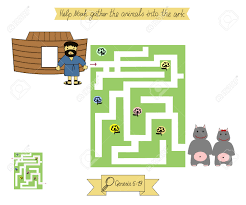 homework for kids maze to help noah gather animals into the