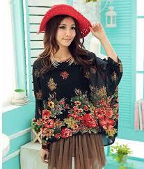 bohemian fashion vintage print women t shirt bohemian fashion style autumn blouse