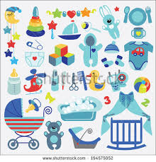 colorful baby items newborn baby boy stock vector 191191094