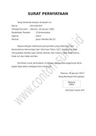 contoh surat pernyataan untuk melamar kerja cara membuat surat pernyataan dan contoh lengkapnya download