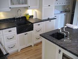 Kitchen Sinks With Cabinets Kitchen With Soapstone Countertops And White Sink With Wooden