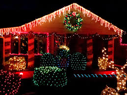 Christmas Decorated Houses Christmas Lights Decorating House Picture Free Photograph