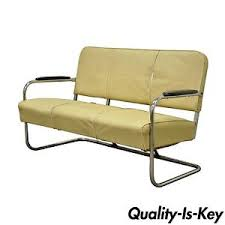 vintage kem weber lloyd mfg art deco tubular chrome bench loveseat
