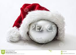 peace ornament wearing santa hat stock photo image 35310450