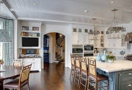 traditional shingle home with blue and white interiors home bunch