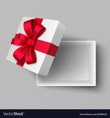 silk ribbon empty open box with silk ribbon and gift bow vector image