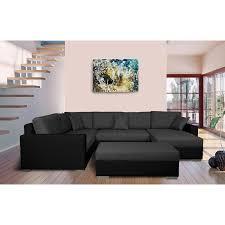 grand canapé d angle tissu grand canapé d angle fixe à gauche avec coffre en pu noir et tissu