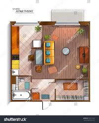 modern floor plan top view architectural floor plan modern stock illustration