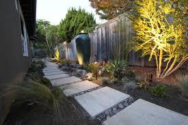 mid century modern garden design photograph lighting a landscape