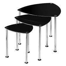 Coffee Table Nest by Premier Housewares Nest Of 3 Tables With Black Glass Top And
