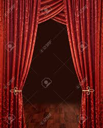 red theatre stage curtains brown wooden floor and dark background