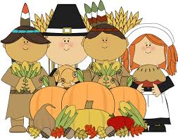 pilgrims and indians with thanksgiving harvest clip pilgrims