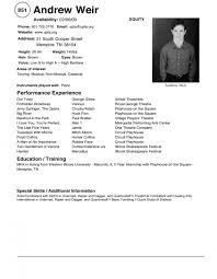 Resume Template Restaurant Musical Theatre Resume Template Perfect Restaurant Resume Crew