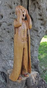 sculpture edvard the scream carved garden olive wood statue