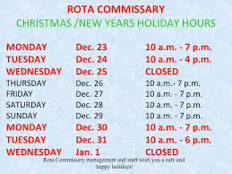rota s commissary hours for the naval station rota