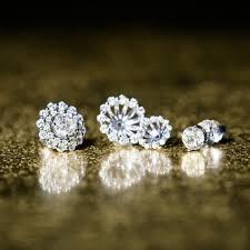 diamond earring jackets layered diamond earring jackets in 14k white gold shane co