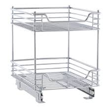 chrome two tier sliding cabinet organizer in pull out baskets chrome two tier sliding cabinet organizer image