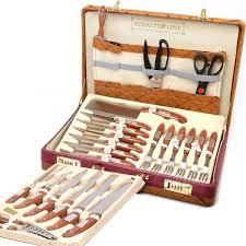 malette de couteaux de cuisine malette de 25 couteaux en inox avec étui en cuir achat vente