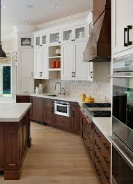 Glass Upper Cabinets Glorious Two Tone Kitchen Transitional With White Cabinets Open