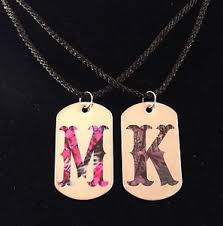 his and hers dog tags his hers personalized camo dog tag necklace 2 pc set new pink