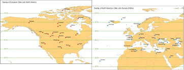 North America Continent Map by Of North American And European Cities Transposed Onto The Opposite