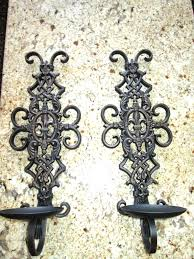 Wall Candle Holders Sconces Set Of 2 Iron Wall Candle Holders Sconces With Fleur De Lis Old